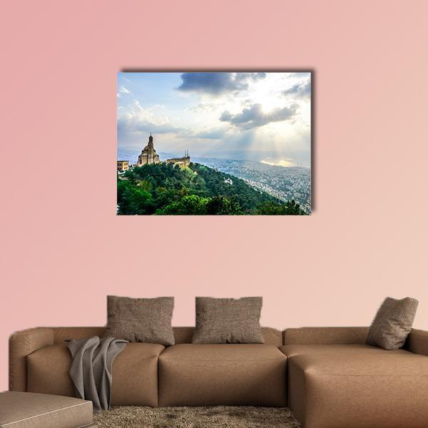 Saint Paul Basilica Jounieh Landscape At Sunset Multi Panel Canvas Wall Art 5 Pieces(B) / Medium / Canvas Tiaracle