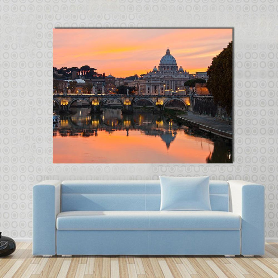 Saint Peter Basilica At Sunset Multi Panel Canvas Wall Art 5 Horizontal / Small / Gallery Wrap Tiaracle