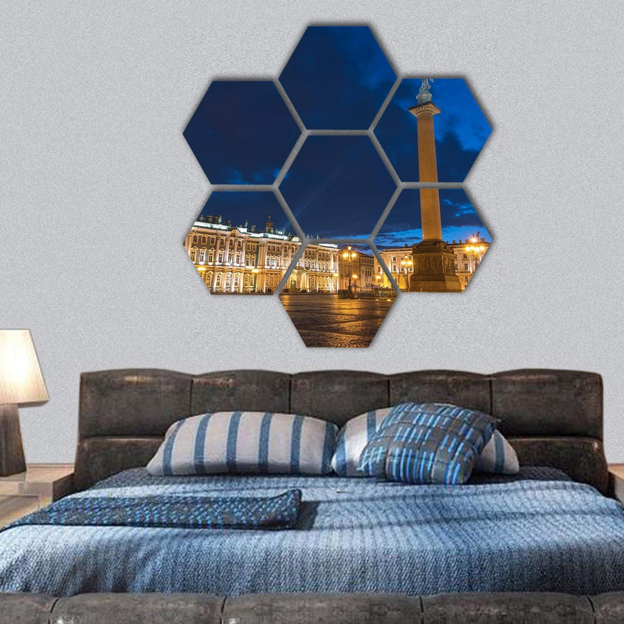 Saint Petersburg Night City Skyline Hexagonal Canvas Wall Art 1 Hexa / Small / Gallery Wrap Tiaracle