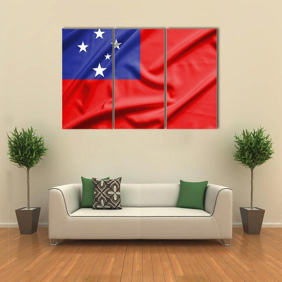 Samoa Flag On Silk Texture Multi Panel Canvas Wall Art 1 Piece / Medium / Canvas Tiaracle