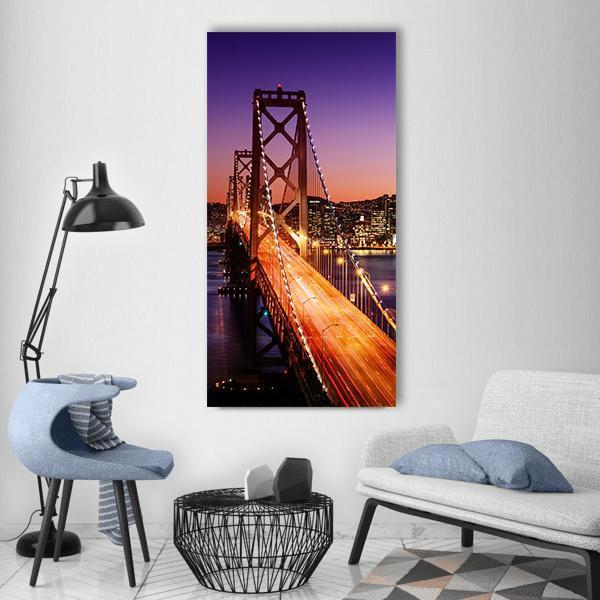 San Francisco Skyline And Bay Bridge Vertical Canvas Wall Art 3 Vertical / Small / Gallery Wrap Tiaracle
