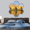 Sand Dune Reflection Over The Nile River Hexagonal Canvas Wall Art 7 Hexa / Small / Gallery Wrap Tiaracle