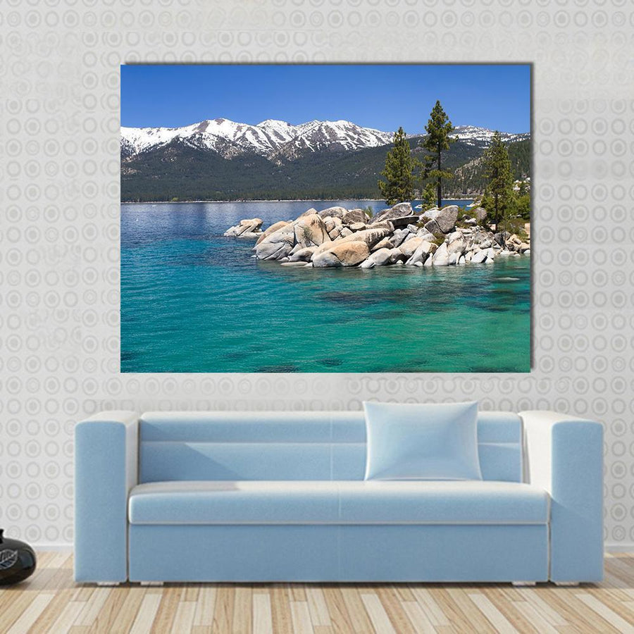 Sand Harbor, Lake Tahoe Multi Panel Canvas Wall Art 4 Horizontal / Small / Gallery Wrap Tiaracle