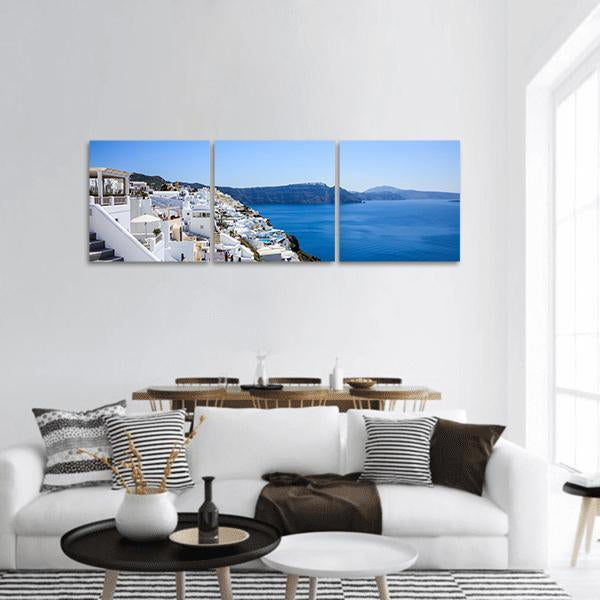 Santorini Island In Greece Panoramic Canvas Wall Art 1 Piece / Small Tiaracle
