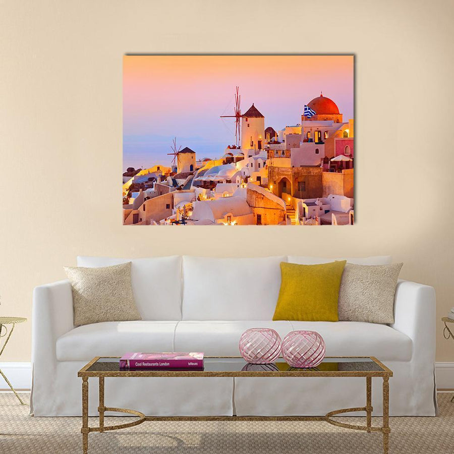 Santorini Sunset In Oia Greece Canvas Panel Painting Tiaracle