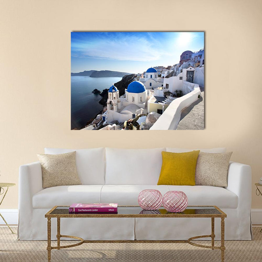 Amazing Santorini With Churches Canvas Panel Painting Tiaracle