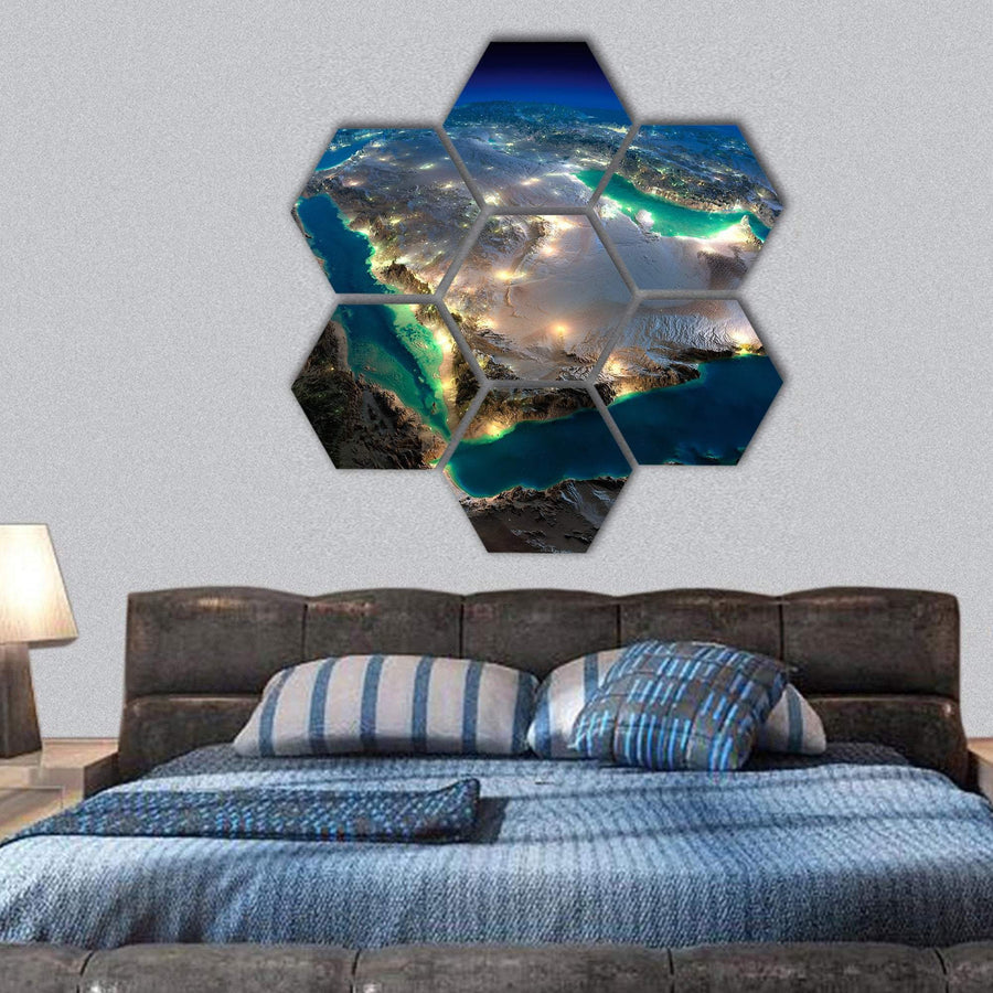 Satellite View Of Saudi Arabia Hexagonal Canvas Wall Art 1 Hexa / Small / Gallery Wrap Tiaracle