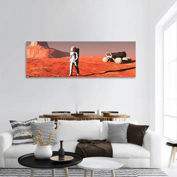 Scene Of The Astronaut On Mars Panoramic Canvas Wall Art 3 Piece / Small Tiaracle