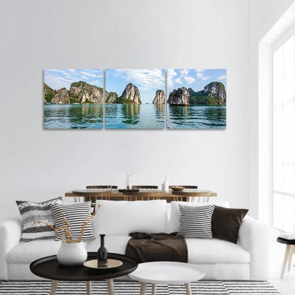 Scenery At Halong Bay In North Vietnam Panoramic Canvas Wall Art 1 Piece / Small Tiaracle