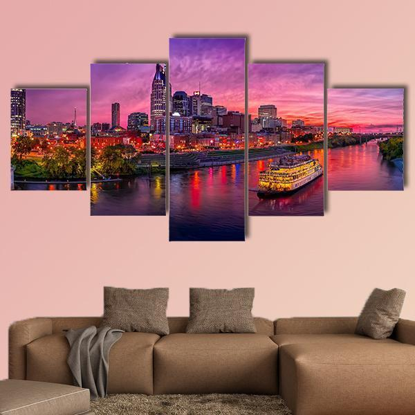 Scenery Of Nashville Skyline With Boat Multi Panel Canvas Wall Art 3 Pieces / Small / Gallery Wrap Tiaracle