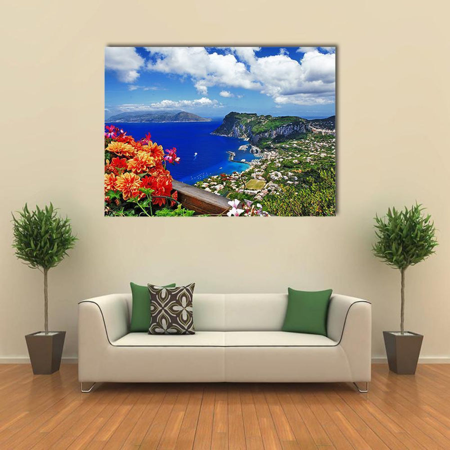 Scenic Capri Island In Italy Multi Panel Canvas Wall Art-5 Horizontal-Small-Gallery Wrap-Tiaracle