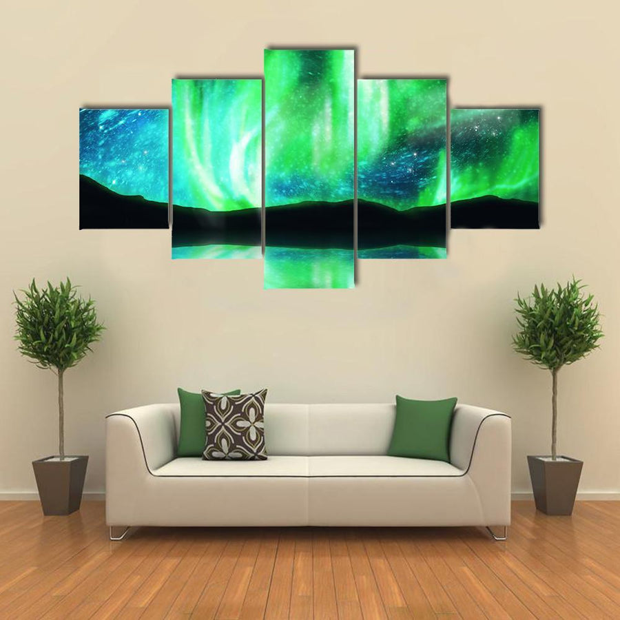 Green Northern Lights ,Aurora Borealis Multi Panel Canvas Wall Art 5 Pieces(A) / Medium / Canvas Tiaracle