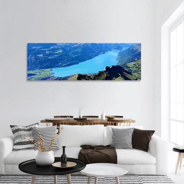 Scenic View Of Brienz Lake Panoramic Canvas Wall Art 3 Piece / Small Tiaracle