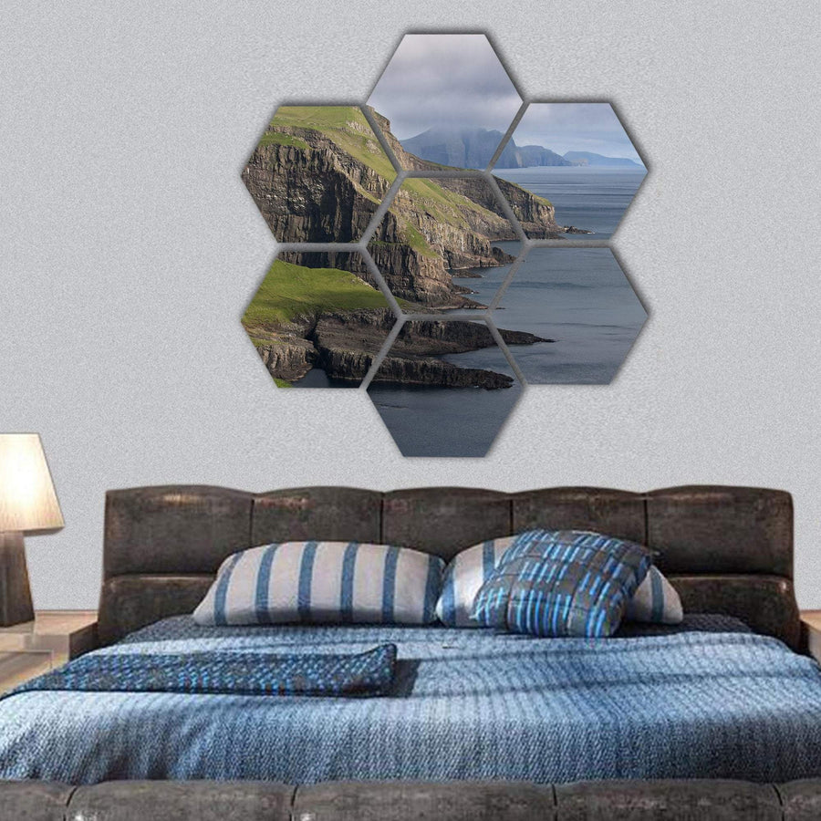 Scenic View Of Coast Of Mykines Hexagonal Canvas Wall Art 1 Hexa / Small / Gallery Wrap Tiaracle