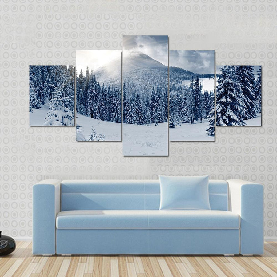 Winter Landscape With Snow Covered Trees Canvas Panel Painting Tiaracle