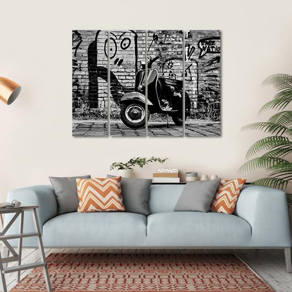 Scooter In front Of A Wall Multi Panel Canvas Wall Art-1 Piece-Small-Gallery Wrap-Tiaracle