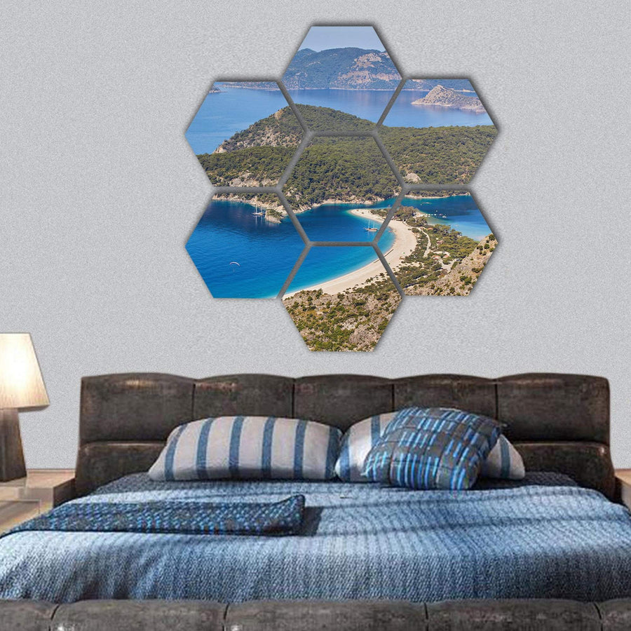 Sea Landscape View Of Beach Hexagonal Canvas Wall Art 1 Hexa / Small / Gallery Wrap Tiaracle