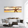 Sea Starfish On The Beach At Sunrise Panoramic Canvas Wall Art 3 Piece / Small Tiaracle