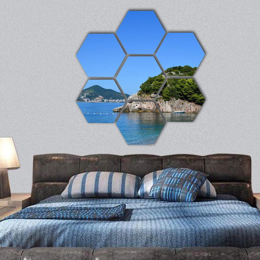 Sea View On A Sunny Day Hexagonal Canvas Wall Art Tiaracle