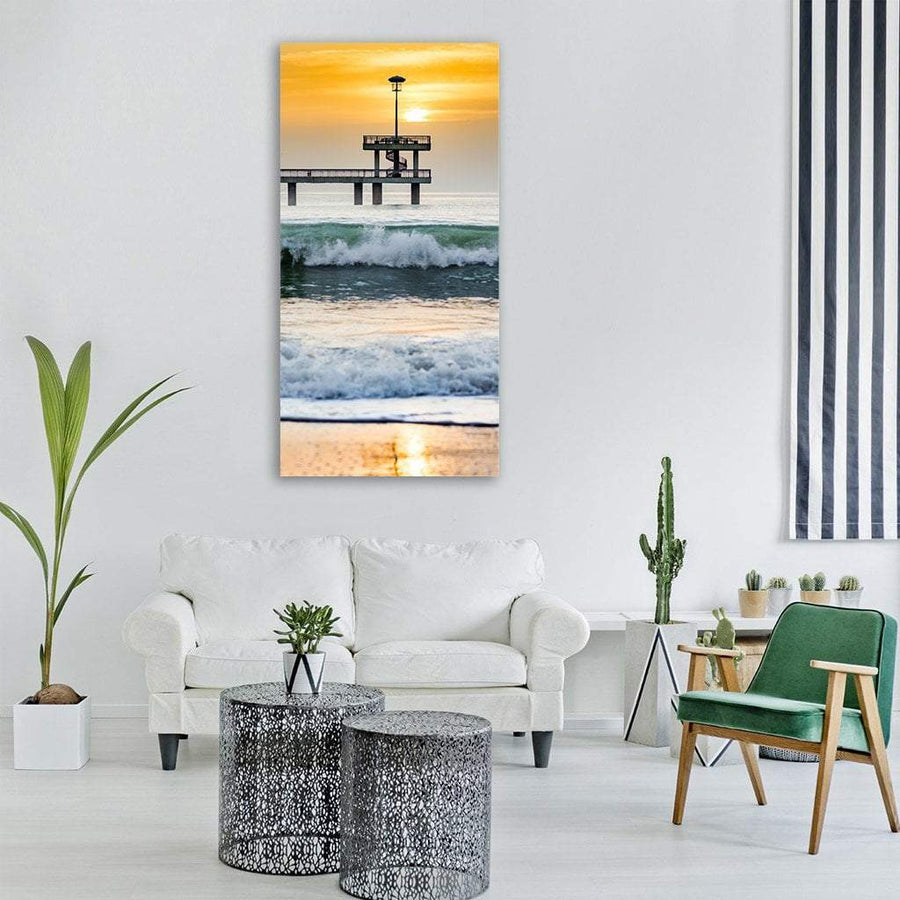 Seashore At Sunset Vertical Canvas Wall Art 3 Vertical / Small / Gallery Wrap Tiaracle