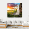 Seljalandsfoss Waterfall In Iceland Multi Panel Canvas Wall Art-4 Square-Small-Gallery Wrap-Tiaracle