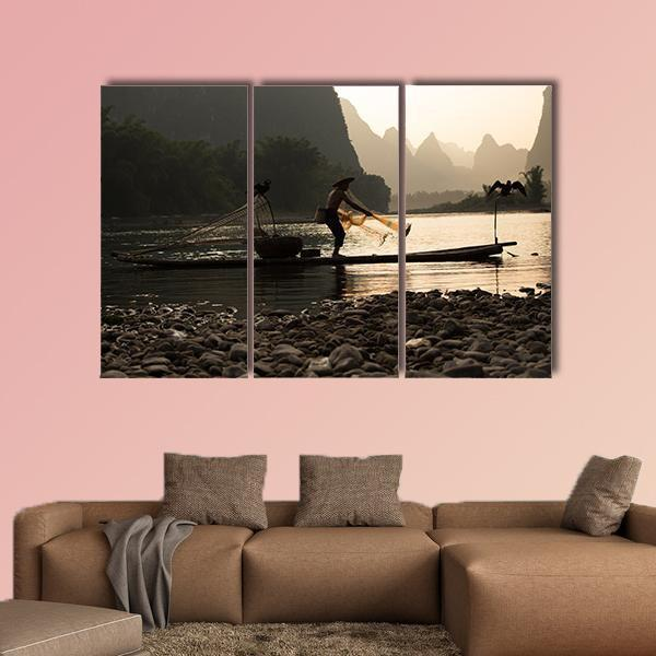 Senior Adult Fishing In China Multi Panel Canvas Wall Art 4 Pieces / Medium / Gallery Wrap Tiaracle