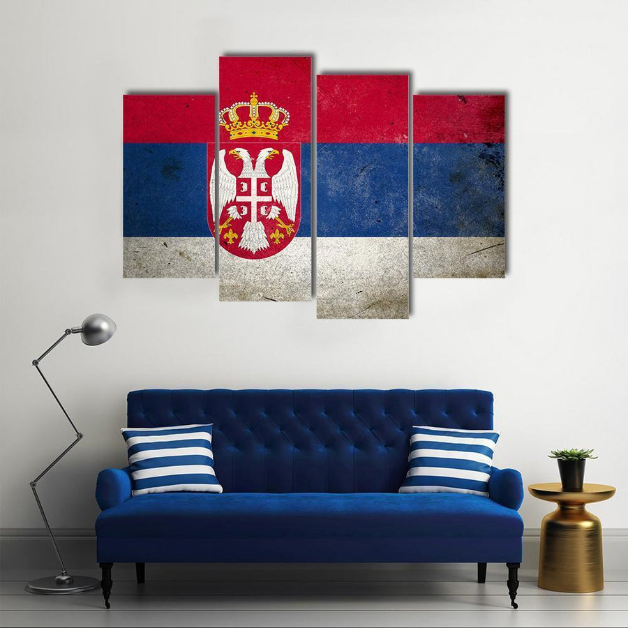 Serbia Flag On Grunge Texture Multi Panel Canvas Wall Art 5 Pieces(A) / Medium / Canvas Tiaracle