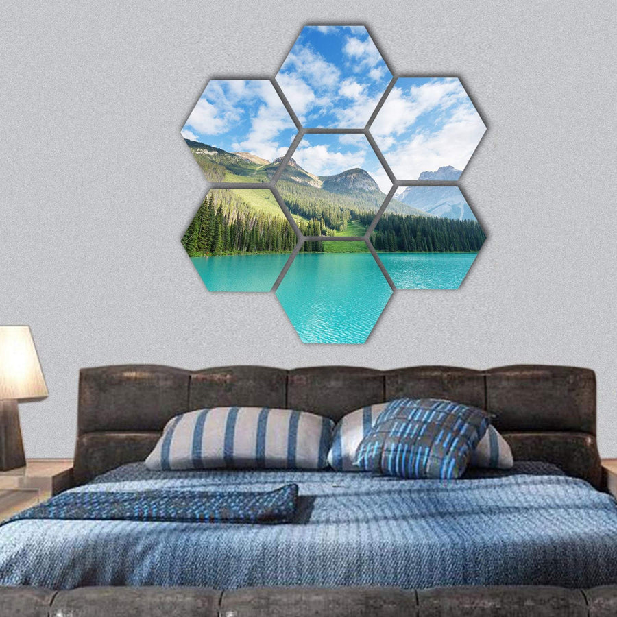 Serenity Emerald Lake In Canada Hexagonal Canvas Wall Art 1 Hexa / Small / Gallery Wrap Tiaracle