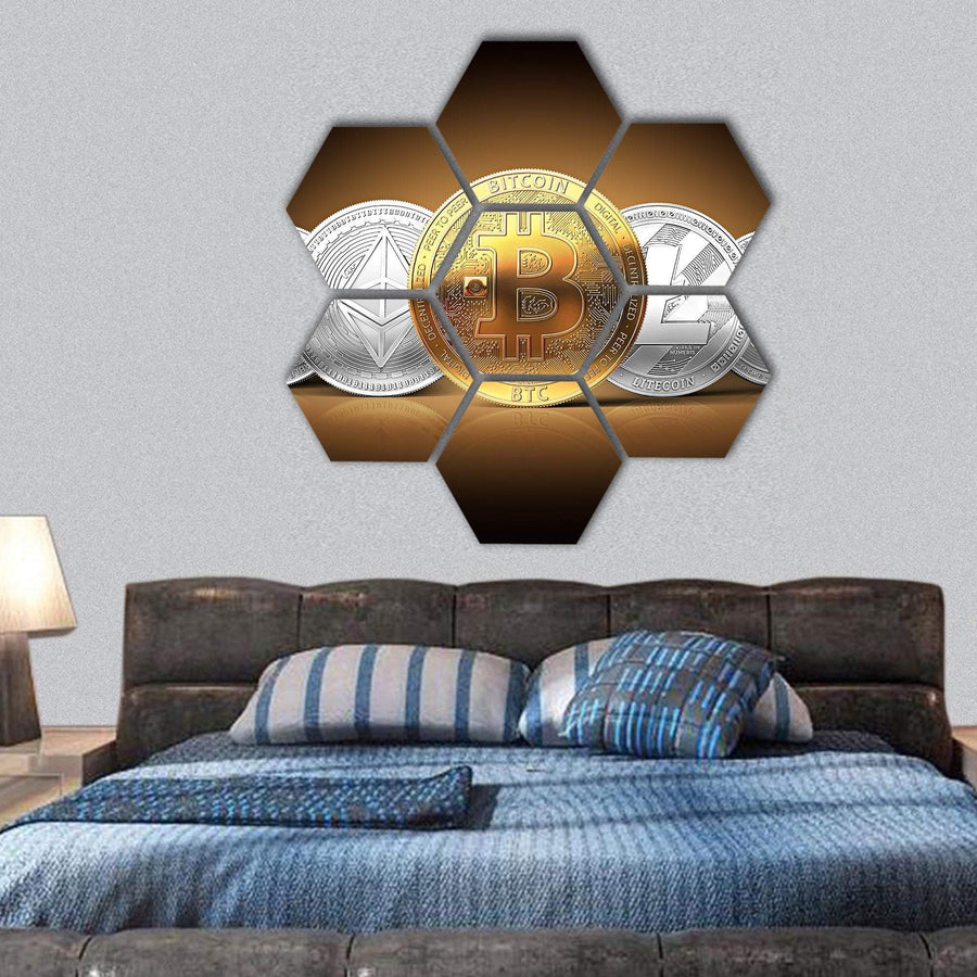 Set Of Cryptocurrencies Hexagonal Canvas Wall Art 1 Hexa / Small / Gallery Wrap Tiaracle