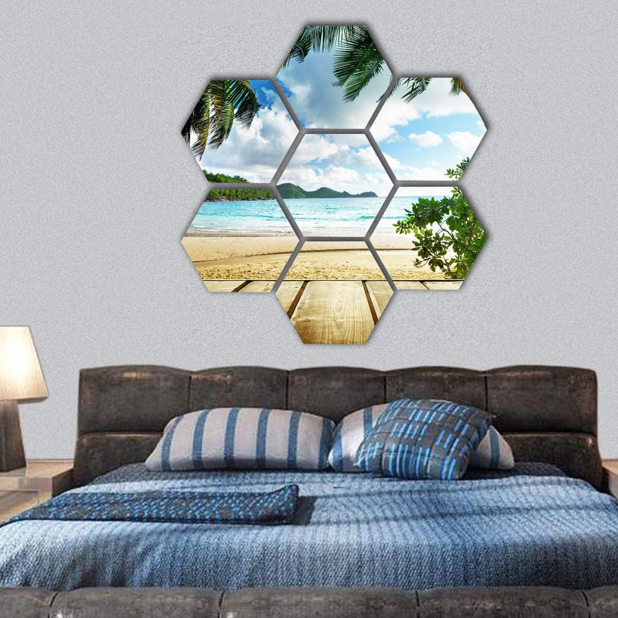 Seychelles Beach And Wooden Pier Hexagonal Canvas Wall Art 1 Hexa / Small / Gallery Wrap Tiaracle