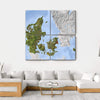 Shaded Relief Map, Denmark Multi Panel Canvas Wall Art 4 Square / Small / Gallery Wrap Tiaracle