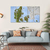 Shaded Relief Map, Denmark Multi Panel Canvas Wall Art 5 Horizontal / Small / Gallery Wrap Tiaracle