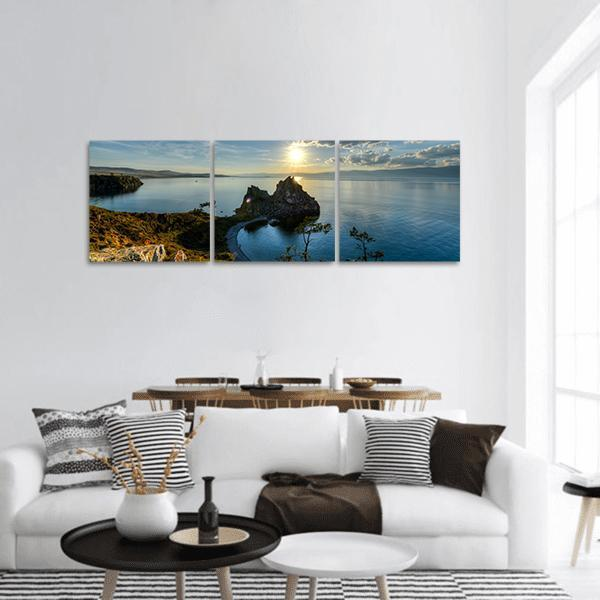 Shaman Rock On Lake Baikal Panoramic Canvas Wall Art 1 Piece / Small Tiaracle
