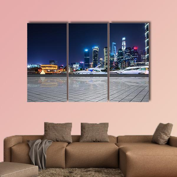 Shanghai At Night In China Multi Panel Canvas Wall Art 5 Pieces(A) / Medium / Canvas Tiaracle