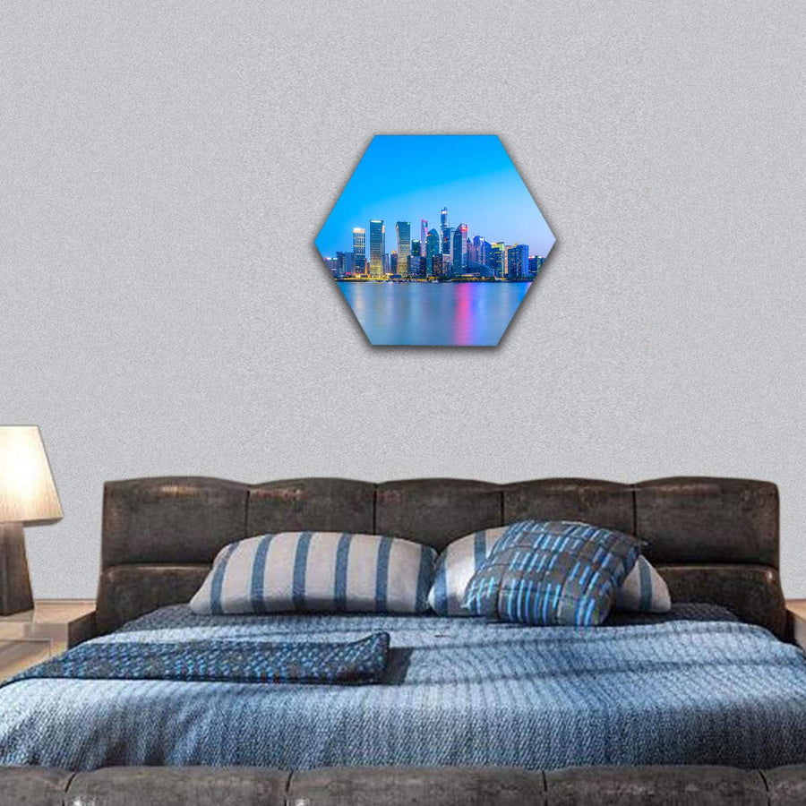 Shanghai Landscape Hexagonal Canvas Wall Art 7 Hexa / Small / Gallery Wrap Tiaracle