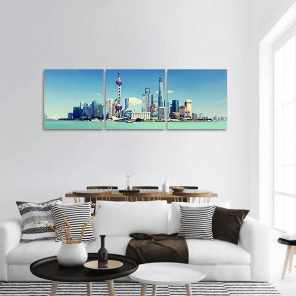 Shanghai Skyline And Sunny Day Panoramic Canvas Wall Art Tiaracle