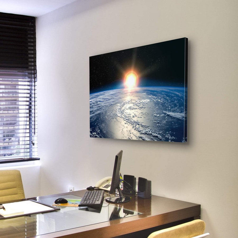 Shining Sun On Planet Earth Canvas Panel Painting Tiaracle