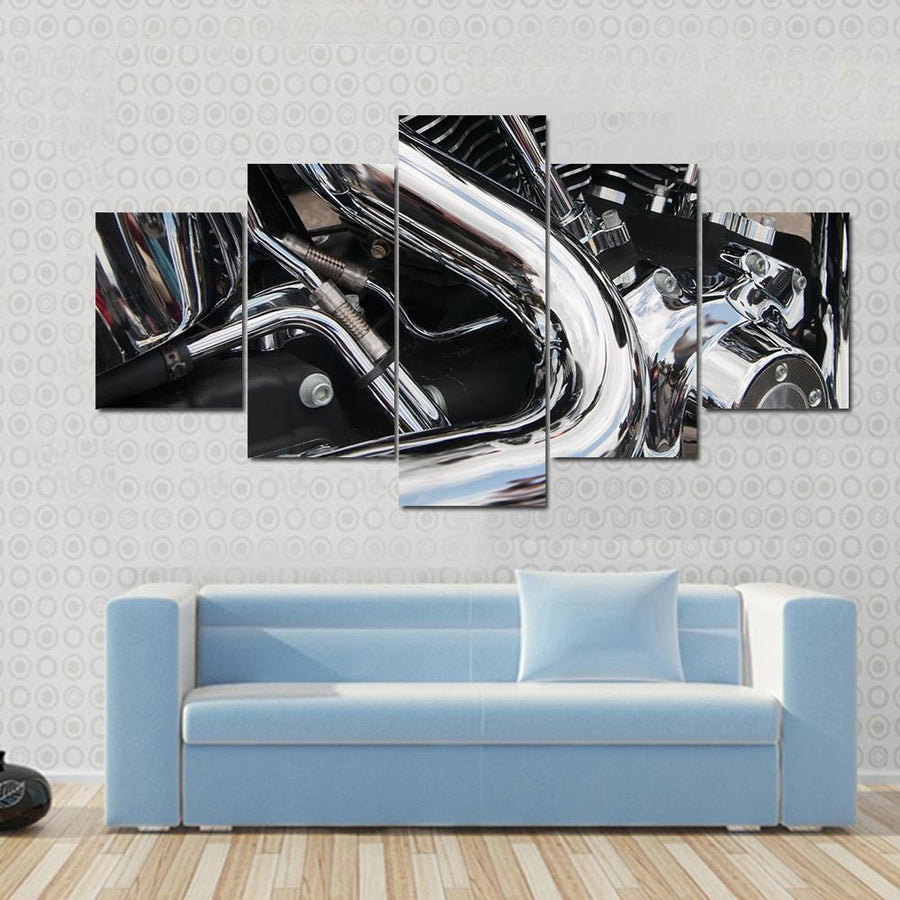 Closeup Of A Big Shiny Motorcycle Engine Canvas Panel Painting Tiaracle
