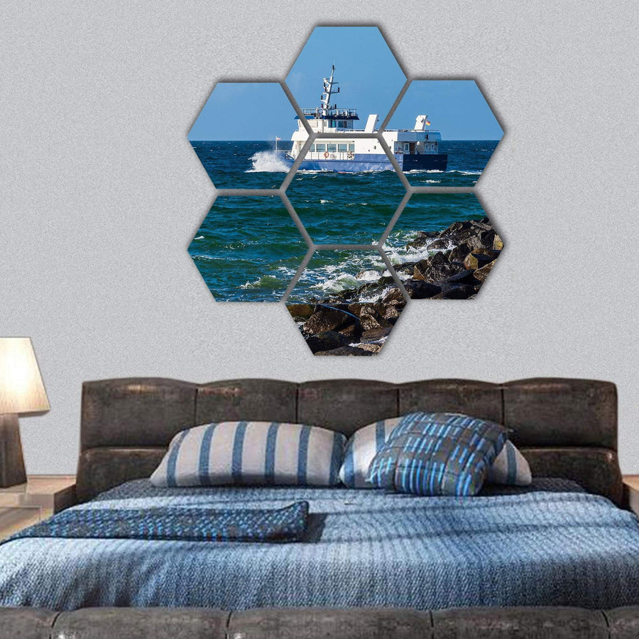 Ship On The Baltic Sea In Warnemuende Hexagonal Canvas Wall Art 1 Hexa / Small / Gallery Wrap Tiaracle