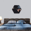 Shot From A Handgun With Fire And Smoke Hexagonal Canvas Wall Art 1 Hexa / Small / Gallery Wrap Tiaracle