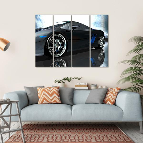 Side View Of Sports Car Multi Panel Canvas Wall Art 1 Piece / Small / Gallery Wrap Tiaracle