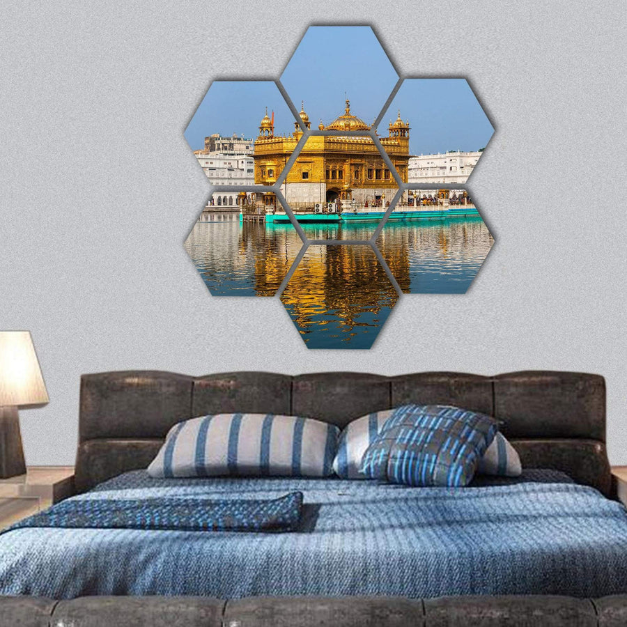 Sikh Gurdwara Golden Temple In India Hexagonal Canvas Wall Art 1 Hexa / Small / Gallery Wrap Tiaracle