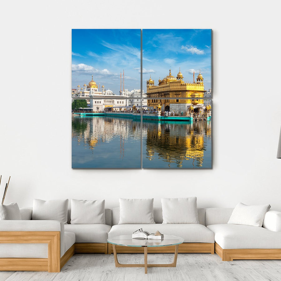 Sikh Gurdwara Golden Temple Multi Panel Canvas Wall Art-4 Horizontal-Small-Gallery Wrap-Tiaracle