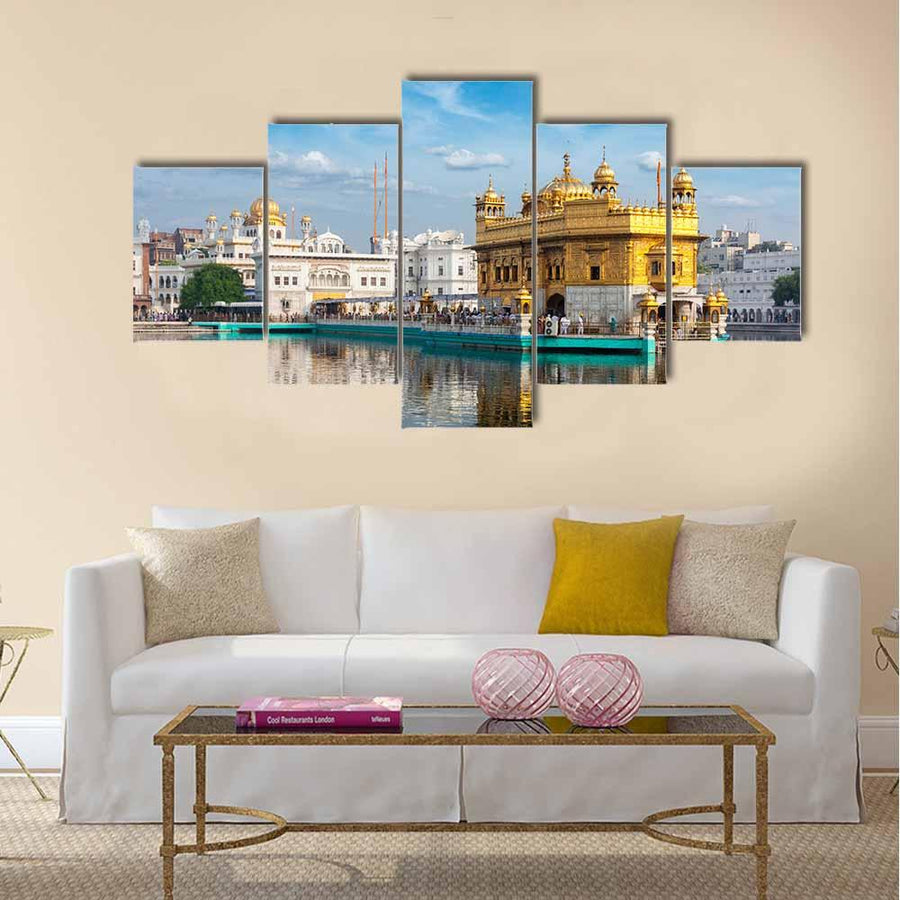 Sikh Gurdwara Golden Temple Multi Panel Canvas Wall Art-4 Pop-Small-Gallery Wrap-Tiaracle