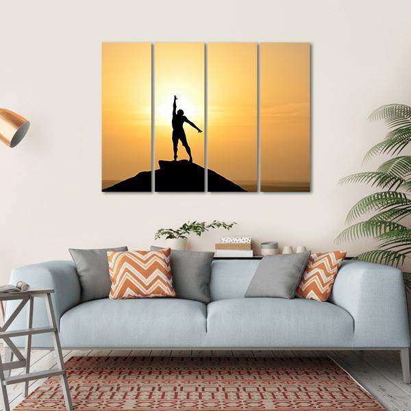 Silhouette Of A Businessman Multi Panel Canvas Wall Art 1 Piece / Small / Gallery Wrap Tiaracle
