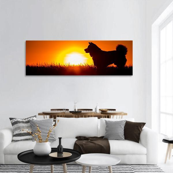 Silhouette Of A Dog At Golden Sunset Panoramic Canvas Wall Art 3 Piece / Small Tiaracle