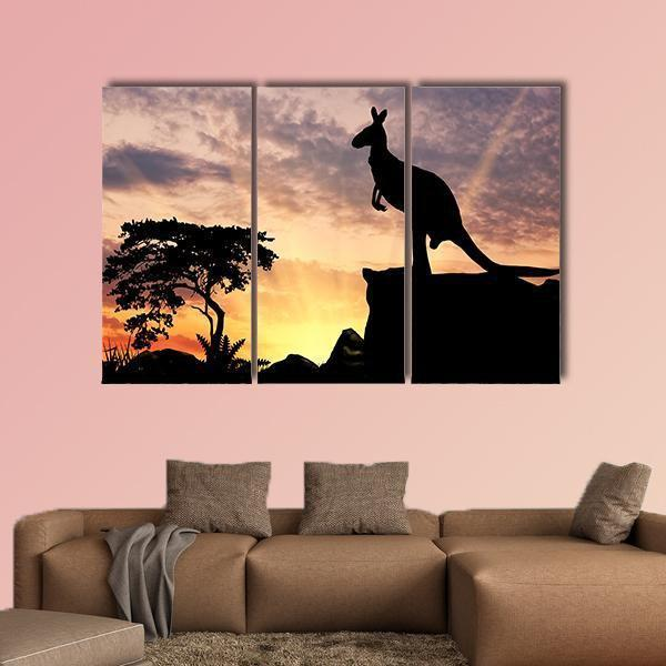 Silhouette Of A Kangaroo On A Hill At Sunset Multi Panel Canvas Wall Art 4 Pieces / Medium / Canvas Tiaracle