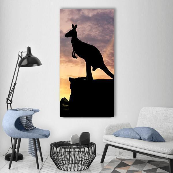Silhouette Of A Kangaroo Vertical Canvas Wall Art 3 Vertical / Small / Gallery Wrap Tiaracle