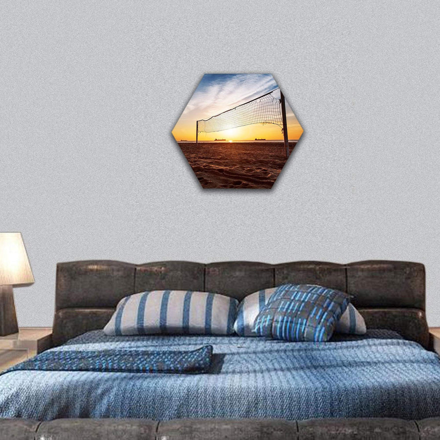 Silhouette Of A Volleyball Net And Sunrise On The Beach Hexagonal Canvas Wall Art 7 Hexa / Small / Gallery Wrap Tiaracle