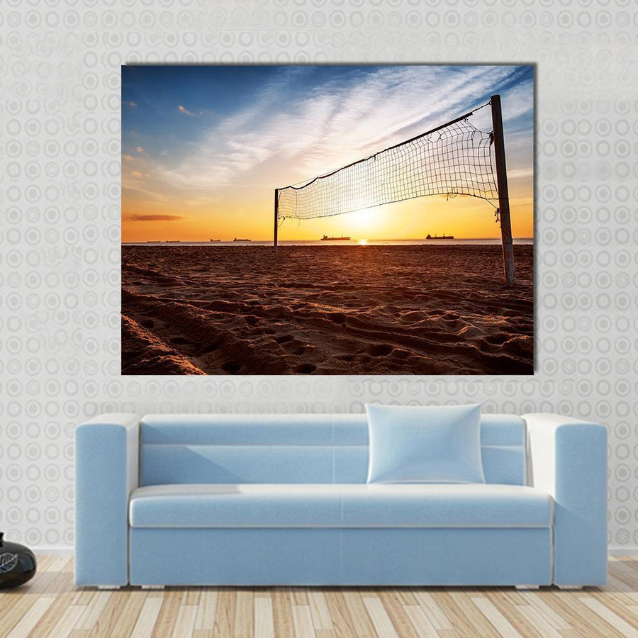 Silhouette Of A Volleyball Net And Sunrise On The Beach Multi Panel Canvas Wall Art-4 Horizontal-Small-Gallery Wrap-Tiaracle